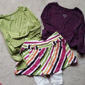 Girls skirt, leggings and long sleeve tees